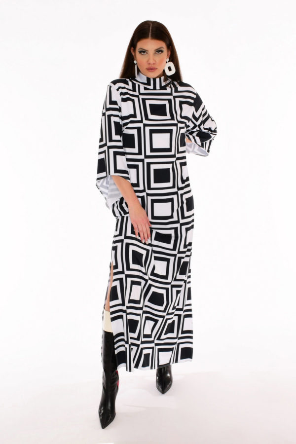 60s Angel Sleeve Maxi Dress - Space Gambit Op Art Print