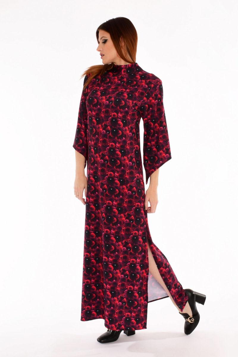60s Bell Sleeve Maxi Dress - Dahlia Daze Floral Print