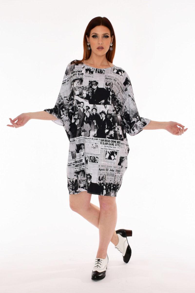 60s Newspaper Print Dress - Notorious MOB Old Hollywood Print