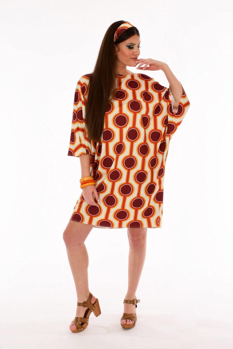 60s Retro Print Kite Dress - Burning Sands Retro Print