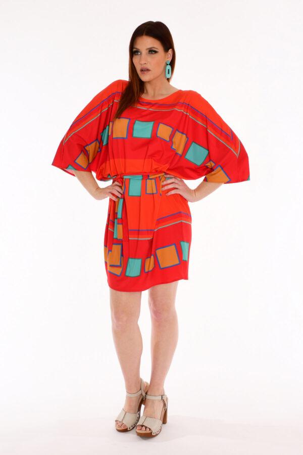 60s Retro Print Kite Dress - Color Me Poppy Geometric Print