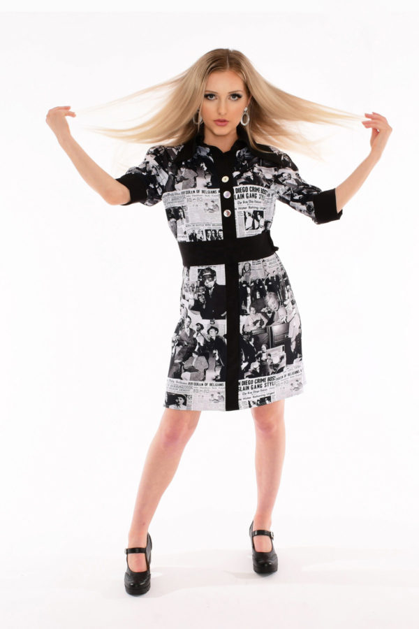 70s Butterfly Collar Shirt Dress - Notorious MOB Large Newspaper Print
