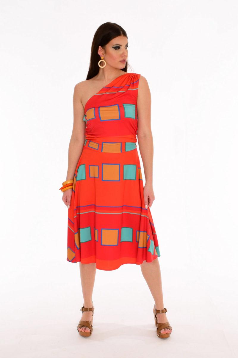 70s Disco Dress - Color Me Poppy Geometric Print