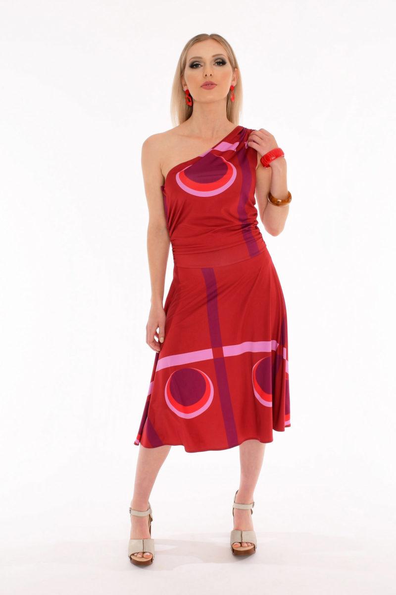 70's One Shoulder Dress - LA Sunset Geometric Print